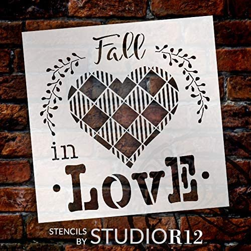Fall in Love Stencil with Buffalo Plaid by StudioR12 | DIY Autumn Home Decor | Paint Wood Signs | Reusable Mylar Template | Select Size | STCL3555