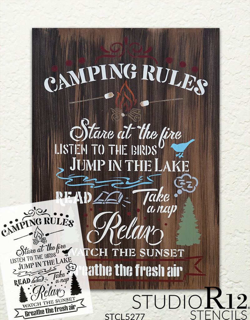 Adventure,   			                 Art Stencils,   			                 Cabin,   			                 Camp,   			                 camp fire,   			                 camper,   			                 campfire,   			                 campground,   			                 Camping,   			                 Campsite,   			                 Country,   			                 Home Decor,   			                 Lake,   			                 Quotes,   			                 Relax,   			                 rules,   			                 stencil,   			                 Stencils,   			                 StudioR12,   			                 StudioR12 Stencil,   			                 Template,   			                 travel,   			                 tree,   			                 word,   			                 Word art,   			                 word stencil,