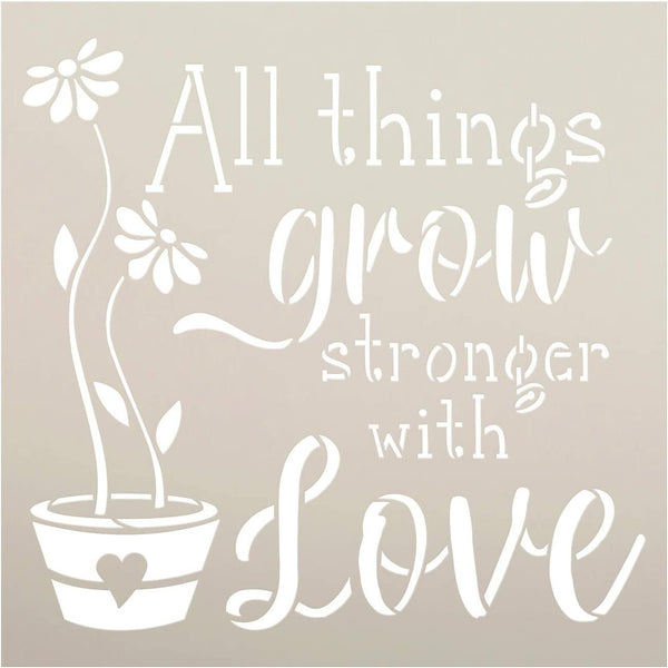 All Things Grow Stencil by StudioR12 | Reusable Mylar Template | Paint Wood Sign | Craft DIY Home Decor | Cursive Script Flower Gift - Garden - Porch | Select Size