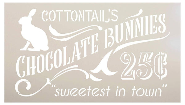 Cottontail's Chocolate Bunnies Stencil by StudioR12 | 25 Cents | DIY Spring Easter Candy Home Decor | Craft & Paint Farmhouse Wood Signs | Reusable Mylar Template | Select Size | STCL3419