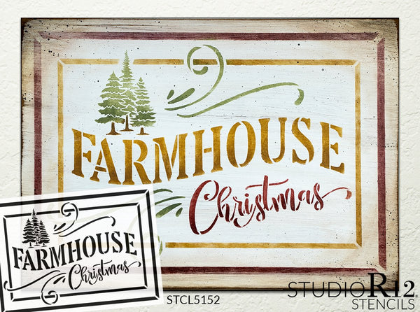 Farmhouse Christmas Stencil by StudioR12 | DIY Rustic Winter Holiday Tree Home Decor | Craft & Paint Wood Sign | Reusable Mylar Template | STCL5152 | Select Size | STCL5152