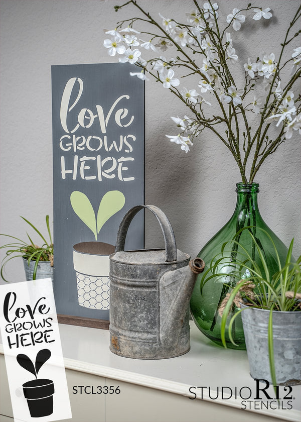 Love Grows Here Stencil with Flower by StudioR12 | DIY Farmhouse Spring Kitchen & Home Decor | Craft & Paint Garden Wood Signs | Reusable Mylar Template | Select Size