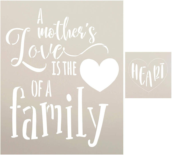A Mother's Love 2-Part Stencil with Heart by StudioR12 | DIY Family Home Decor | Rustic Cursive Script Word Art | Paint Farmhouse Wood Signs | Reusable Mylar Template | Select Size