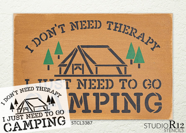 No Therapy Just Camping Stencil with Tent by StudioR12 | DIY Country Rustic Home Decor | Camping Adventure Word Art | Craft & Paint Wood Sign | Reusable Mylar Template | Select Size