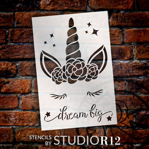 Dream Big Stencil with Unicorn & Stars by StudioR12 | DIY Children's Bedroom & Nursery Home Decor | Paint Wood Signs | Select Size | STCL5138
