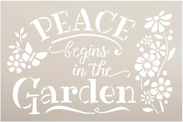 Peace Begins - Garden Stencil by StudioR12 | Reusable Mylar Template | Paint Wood Sign | Flower - Butterfly | Craft DIY Home Decor | Cursive Script Gift - Porch | Select Size