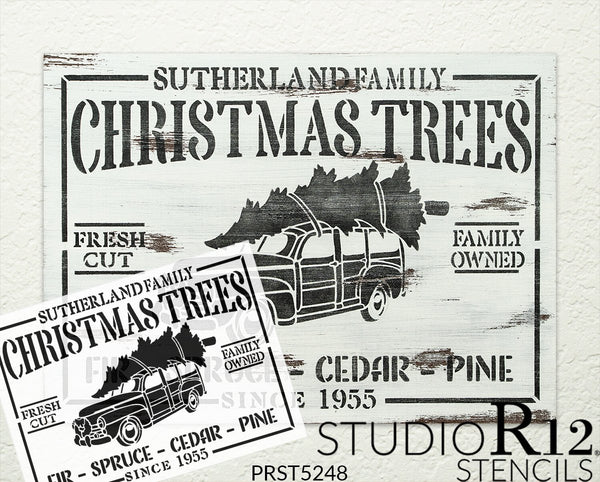 Family Christmas Trees Personalized 2-Part Stencil by StudioR12 | DIY Home Decor | Craft & Paint Wood Sign | Reusable Mylar Template | 18 x 13 INCHES