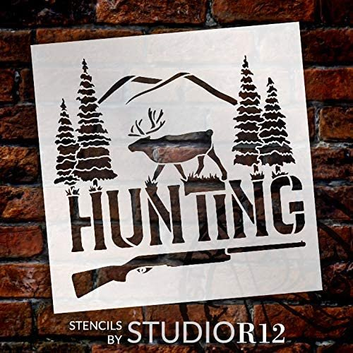 Hunting Stencil by StudioR12 | DIY Deer Pine Tree Home Decor Gift | Craft & Paint Wood Sign | Reusable Mylar Template | Rustic Gun Gift | Select Size | STCL5084
