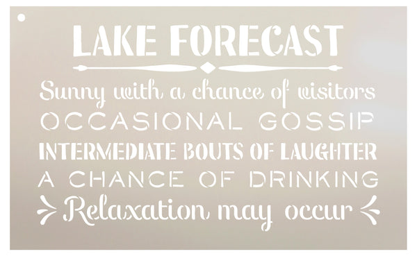 Lake Forecast - Sunny with a Chance of Visitors Stencil by StudioR12 | Reusable Mylar Template | Use to Paint Wood Signs - Front Door - Entry - Porch - DIY Summer Decor - Select Size (20