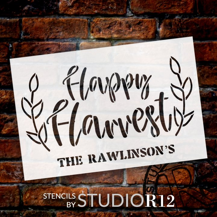Autumn,   			                 Autumn Leaves,   			                 Country,   			                 Cursive,   			                 cursive script,   			                 custom,   			                 Fall,   			                 fall leaves,   			                 fall sign,   			                 fall signs,   			                 fall stencil,   			                 Family,   			                 Farmhouse,   			                 Happy,   			                 harvest,   			                 Home,   			                 Home Decor,   			                 Personalized,   			                 Script,   			                 stencil,   			                 Stencils,   			                 StudioR12,   			                 StudioR12 Stencil,   			                 Template,