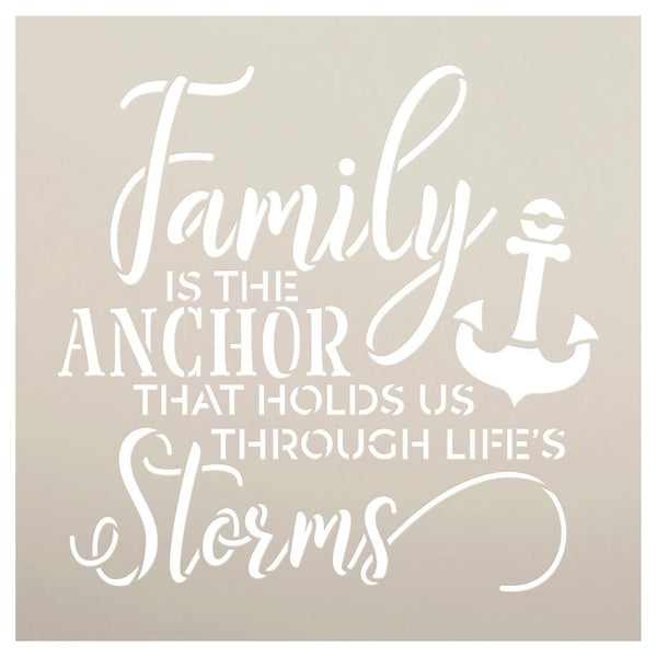 Family is The Anchor Stencil by StudioR12 | DIY Modern Country Farmhouse Home Decor | Inspirational Cursive Word Art | Craft & Paint Wood Sign | Reusable Mylar Template | Select Size