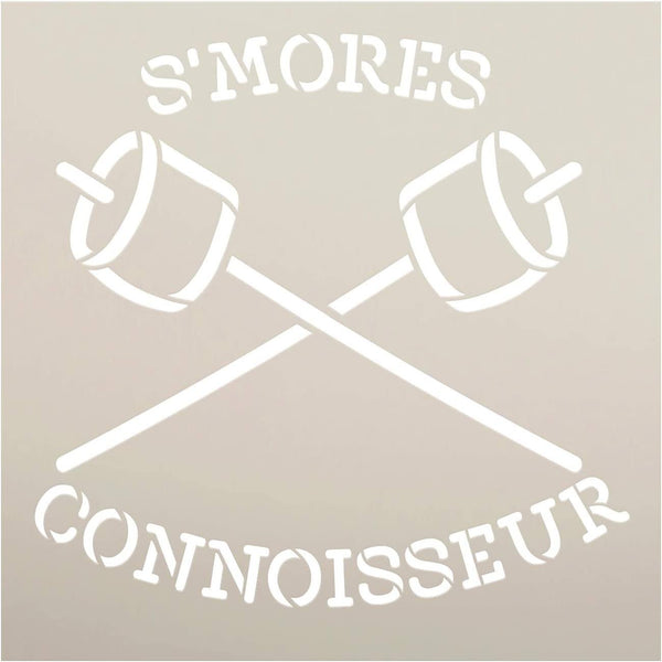 Smores Connoisseur Stencil by StudioR12 | DIY Camping Marshmallow Home Decor Gift | Craft & Paint Wood Sign | Reusable Mylar Template | Select Size