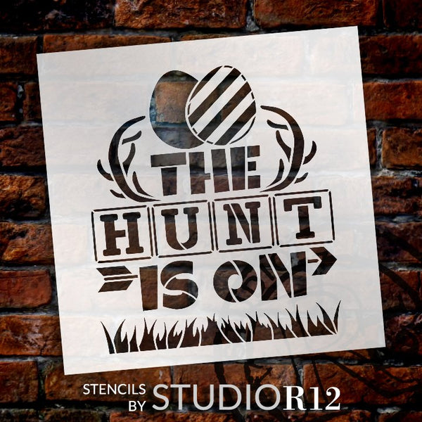 The Hunt is On Stencil with Easter Eggs by StudioR12 | DIY Country Spring Home Decor | Craft & Paint Farmhouse Wood Signs | Select Size | STCL5582