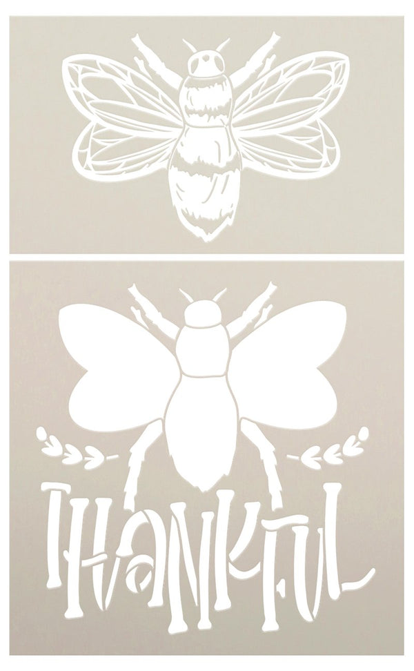 Be Thankful 2 Part Bee Stencil by StudioR12 | DIY Farmhouse Home & Bumble Bee Kitchen Decor | Craft & Paint Wood Signs | Select Size | STCL5690