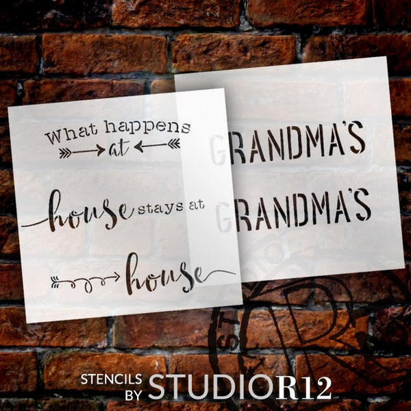 Personalized What Happens at Grandma's 2 Part Stencil by StudioR12 | Custom Grandma Name | DIY Fun Quote Home Decor | Select Size | PRST5834