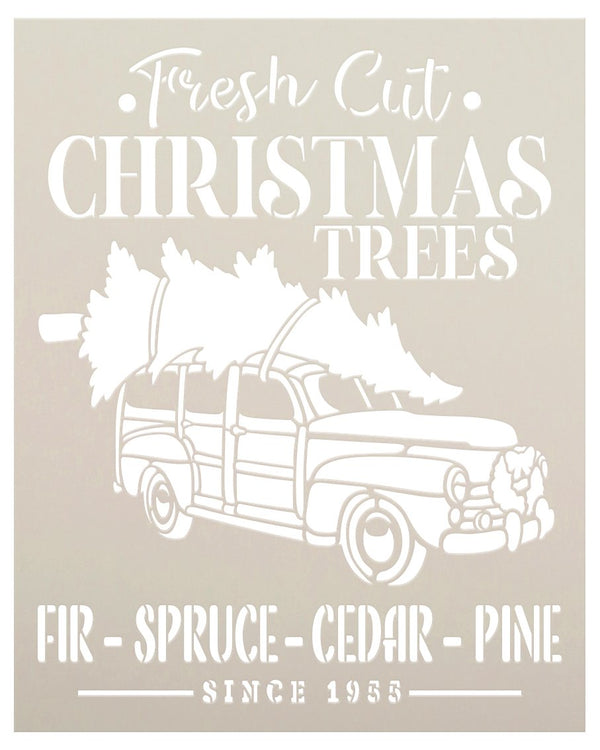Fresh Cut Christmas Trees Since 1955 Stencil by StudioR12 | DIY Holiday Home Decor | Craft & Paint Wood Sign | Reusable Mylar Template | Select Size