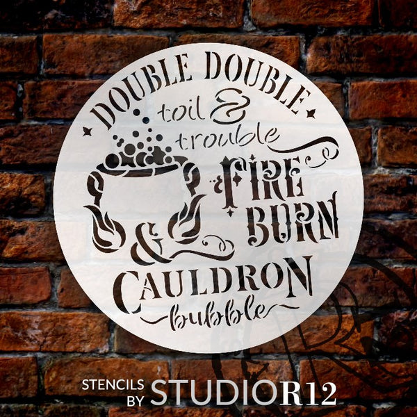 Double Toil & Trouble Stencil with Cauldron Bubble by StudioR12 | DIY Halloween Witch Quote Home Decor | Craft & Paint | Select Size | STCL3460