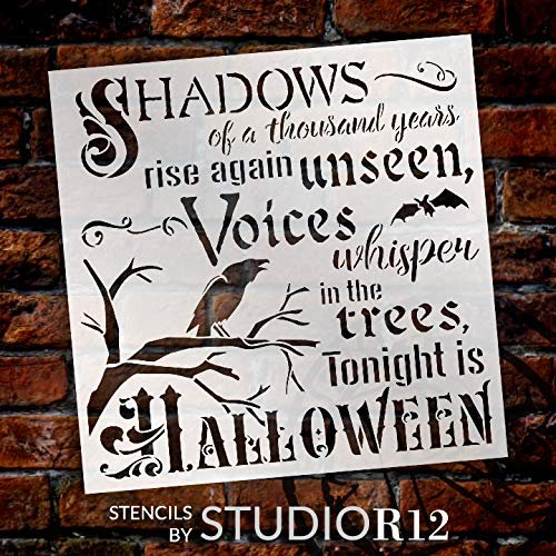 Tonight is Halloween Stencil with Crow & Bat by StudioR12 | DIY Fall October Home Decor | Craft & Paint Wood Signs | Select Size | STCL3569