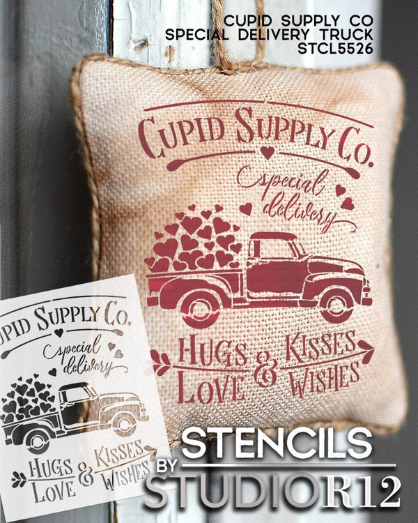 Cupid Supply Co Stencil with Hearts & Vintage Truck by StudioR12 | DIY Valentine Home Decor | Craft & Paint Wood Signs | Select Size STCL5526