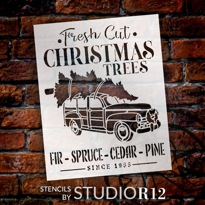 antique Truck,   			                 cedar,   			                 Christmas,   			                 Christmas & Winter,   			                 christmas tree,   			                 Christmas Trees,   			                 christmastime,   			                 cut & carry,   			                 cut and carry,   			                 decor,   			                 Farmhouse,   			                 fir,   			                 fir tree,   			                 Holiday,   			                 holidays,   			                 Home,   			                 Home Decor,   			                 Merry Christmas,   			                 old,   			                 old fashioned,   			                 old truck,   			                 pine,   			                 rustic,   			                 spruce,   			                 Studio R 12,   			                 Studio R12,   			                 StudioR12,   			                 StudioR12 Stencil,   			                 Studior12 Stencils,   			                 traditional,   			                 truck,   			                 Vintage,   			                 vintage truck,   			                 wall art,   			                 Winter,