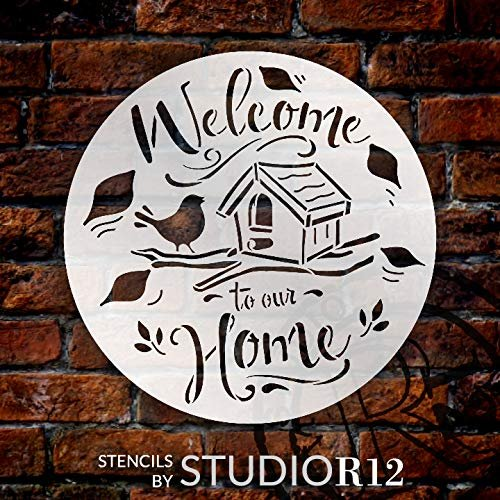 animal,   			                 bird,   			                 birdhouse,   			                 branch,   			                 Country,   			                 cursive,   			                 Farmhouse,   			                 fun,   			                 happy,   			                 Home,   			                 Home Decor,   			                 Inspiration,   			                 Kitchen,   			                 laurel,   			                 leaves,   			                 nature,   			                 Quotes,   			                 round,   			                 Sayings,   			                 script,   			                 sing,   			                 stencil,   			                 Stencils,   			                 Studio R 12,   			                 StudioR12,   			                 StudioR12 Stencil,   			                 tweet,   			                 Welcome,   			                 Welcome Sign,