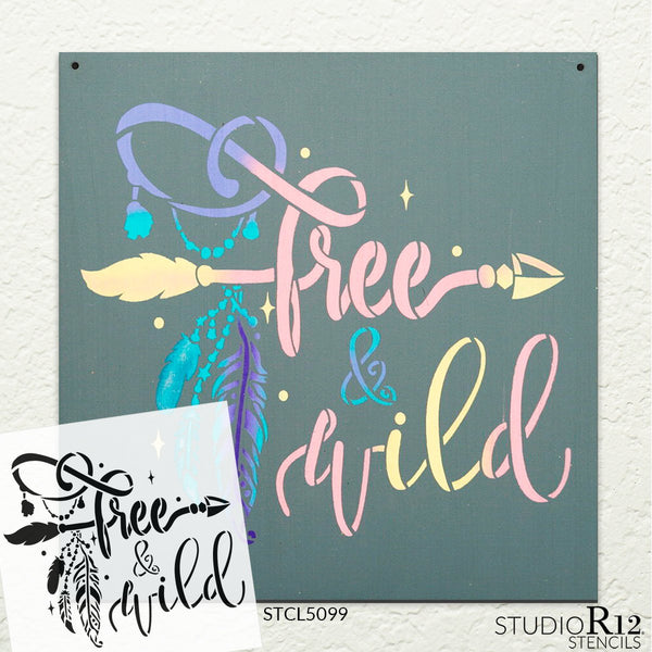 Wild & Free Stencil by StudioR12 | DIY Boho Bohemian Feather Arrow Home Decor Gift | Craft & Paint Wood Sign | Reusable Mylar Template | Select Size (9 inches x 9 inches)