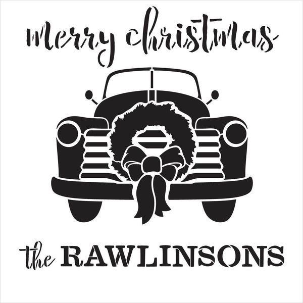Personalized Merry Christmas Stencil with Red Truck & Wreath | DIY Rustic Holiday Home Decor | Custom Vintage Family Decoration Gift | Craft & Paint Wood Signs | Reusable Mylar Template | Select Size | PRST0007
