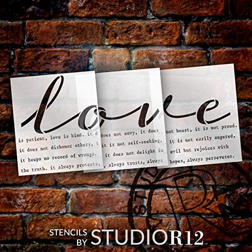 Love is Patient Jumbo 3-Part Stencil by StudioR12 | DIY Wedding & Faith Oversive Home Decor | Bible Verse | Craft & Paint | Extra Large