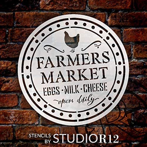 Farmers Market Stencil by StudioR12 | Eggs Milk Cheese Open Daily | DIY Chicken Home Decor | Craft & Paint Wood Sign | Reusable Mylar Template | Rural Country Gift Select Size | STCL3703