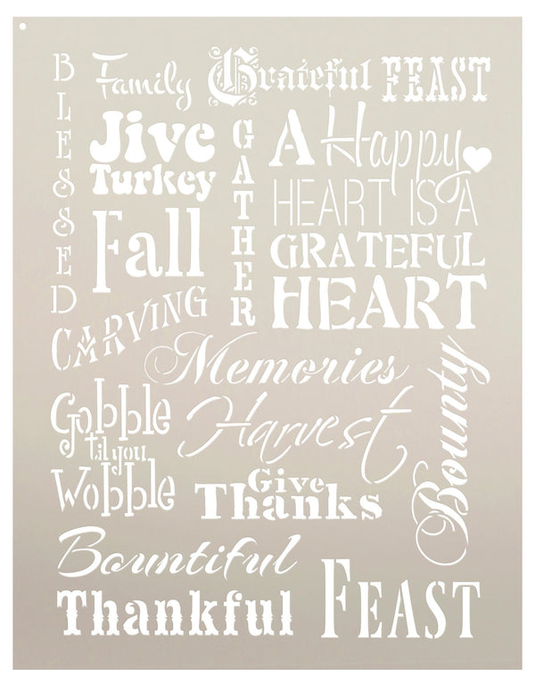 Thanksgiving Background Word Stencil by StudioR12 | Rustic and Primitive - Reusable Mylar Template | Painting, Chalk, Mixed Media | Wall Art, DIY Home Decor | Select Size | STCL693
