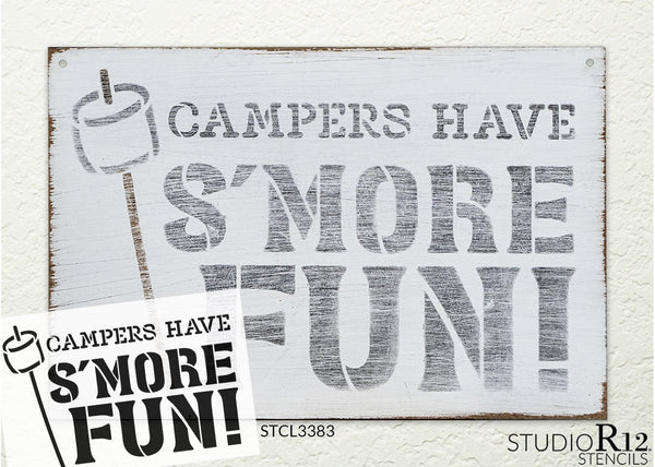 Campers Have S'More Fun Stencil with Marshmallow by StudioR12 | DIY Summer Camping Home Decor | Outdoor Adventure Word Art | Paint Wood Signs | Reusable Mylar Template | Select Size