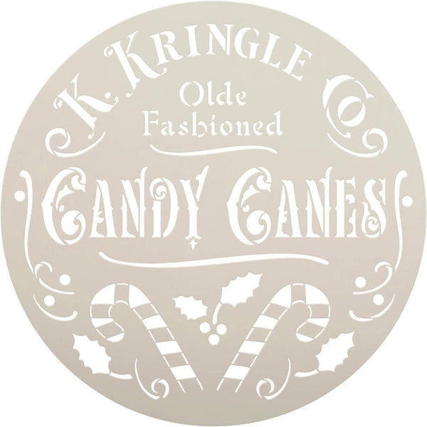 Kringle Candy Cane Co. Stencil by StudioR12 | DIY Old Fashion Christmas Holiday Home Decor | Craft & Paint Wood Sign | Round Reusable Mylar Template | Holly Santa Claus | Select Size