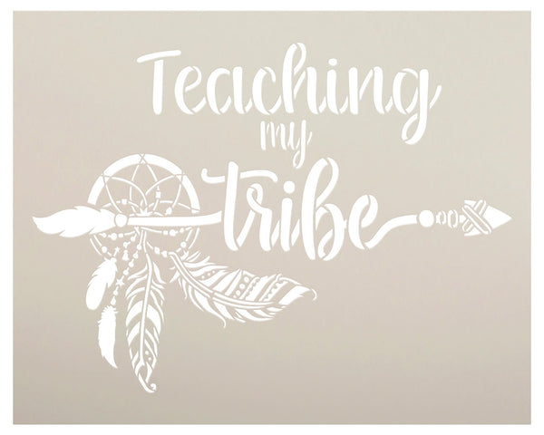 Teaching My Tribe Stencil by StudioR12 | DIY Boho Dreamcatcher Bohemian Home Decor Gift | Craft Paint Wood Sign Reusable Mylar Template | Select Size