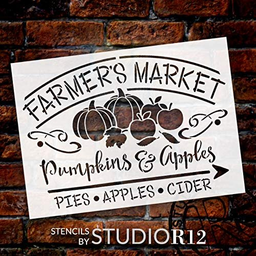 Farmer's Market Stencil with Pumpkin Pie & Apple Cider by StudioR12 | DIY Farmhouse Fall & Autumn Script Home Decor | Select Size