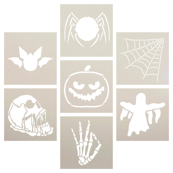 Halloween Stencil Set of 7 by StudioR12 | Spider Web, Bat & Skull | DIY Spooky Fall Home Decor | Paint Haunted Wood Signs | Select Size