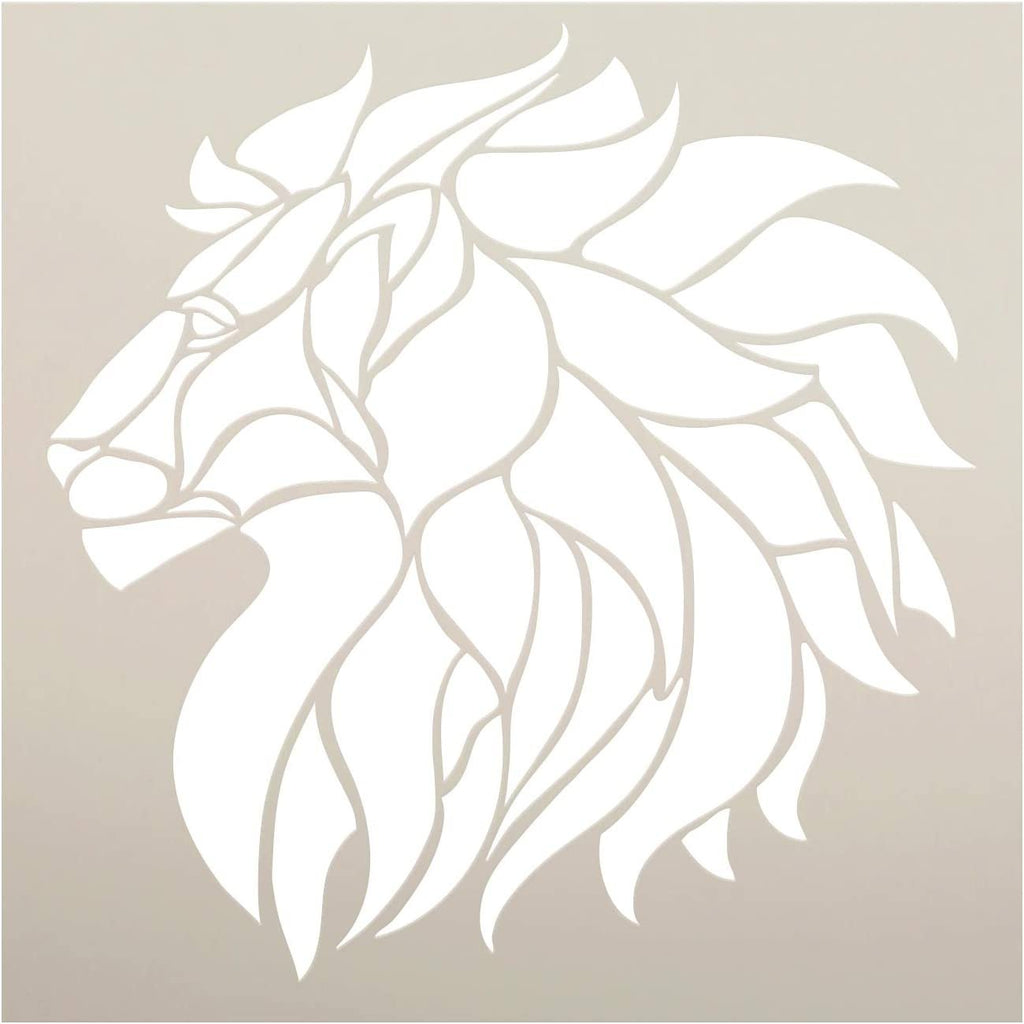 Lion Profile Stencil By Studior12 Diy Stained Glass Pattern Mosaic H