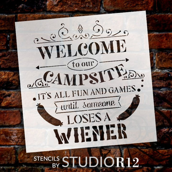 Welcome to Our Campsite - All Fun and Games Stencil by StudioR12 | DIY Home Decor | Craft & Paint Wood Sign | Reusable Mylar Template | Select Size