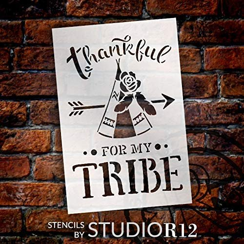 Thankful for My Tribe Stencil with Teepee by StudioR12 | DIY Tribal Pattern Family Home Decor | Boho Feather & Flower Word Art | Craft & Paint Wood Signs | Mylar Template | Select Size