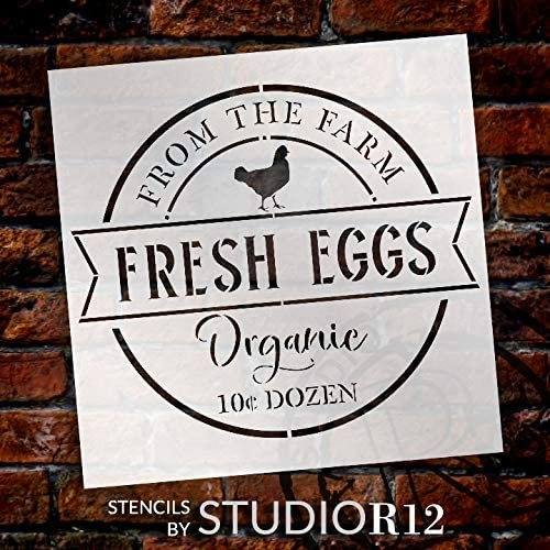 Fresh Egg - Farm Organic Stencil by StudioR12 | DIY Chicken Country Farmhouse Home Decor | Craft & Paint Wood Sign | Reusable Mylar Template | Market Barn Coop Gift Select Size | STCL3421