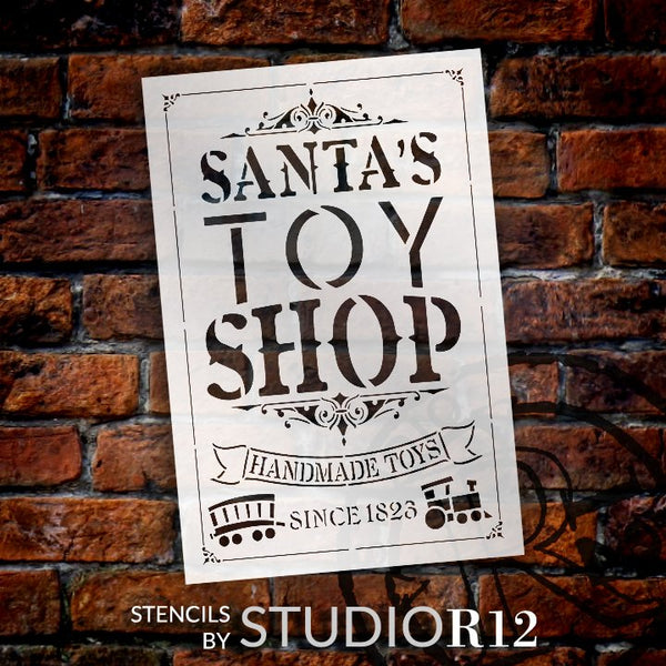 Santas Toy Shop Stencil by StudioR12 | DIY Vintage Christmas Holiday Train Home Decor | Craft & Paint Wood Sign Reusable Mylar Template | Select Size | STCL5125