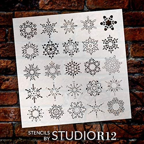 Assorted Snowflake Stencil by StudioR12 | DIY Christmas & Winter Home Decor | Craft & Paint Wood Sign | Reusable Mylar Template | 19 x 19 INCHES