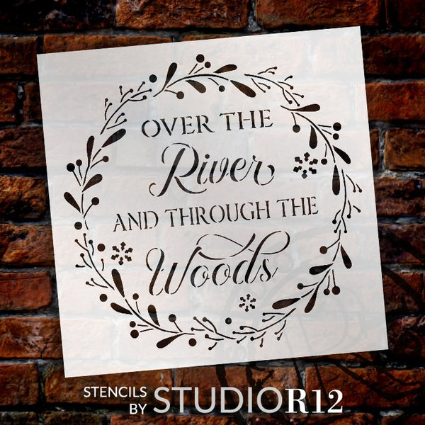 Over The River and Through The Woods Stencil with Wreath by StudioR12 | DIY Farmhouse Christmas Holiday Snow Home Decor | Select Size | STCL5251