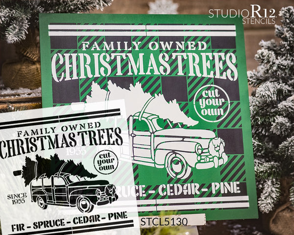 Family Owned Christmas Trees Since 1955 Stencil by StudioR12 | DIY Home Decor Gift | Craft & Paint Wood Sign | Reusable Mylar Template | Select Size