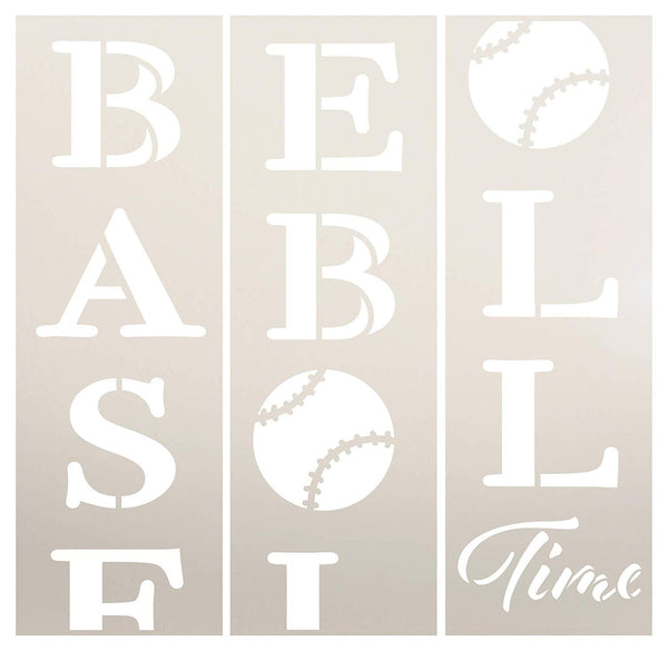 Baseball Time Tall Porch Stencil by StudioR12 | 3 Piece | DIY Large Vertical Sports Fan Home Decor | Front Door or Entryway | Craft & Paint Wood Leaner Signs | Reusable Mylar Template | Size 6ft