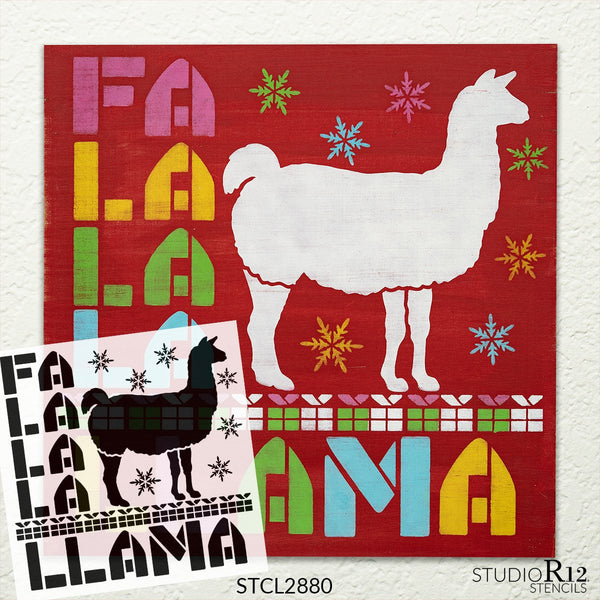 FA La Llama Stencil by StudioR12 | Reusable Mylar Template | Paint Square Wood Sign | Craft Country Christmas Holiday Home Decor | Funny Rustic DIY Deck The Halls Alpaca Gift | Select Size | STCL2880