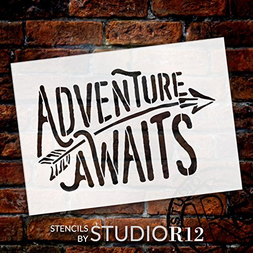 Adventure Awaits Stencil by StudioR12 | Rustic Curved Word Art - Reusable Mylar Template | Painting, Chalk, Mixed Media | Use for Wall Art, DIY Home Decor - CHOOSE SIZE (13