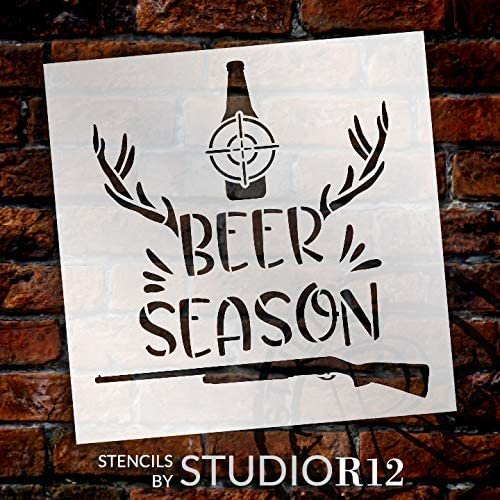 Beer Season Stencil by StudioR12 | DIY Hunting Deer Antler Shotgun Home Decor Gift | Craft Paint Wood Sign Reusable Mylar Template | Select Size | STCL5071