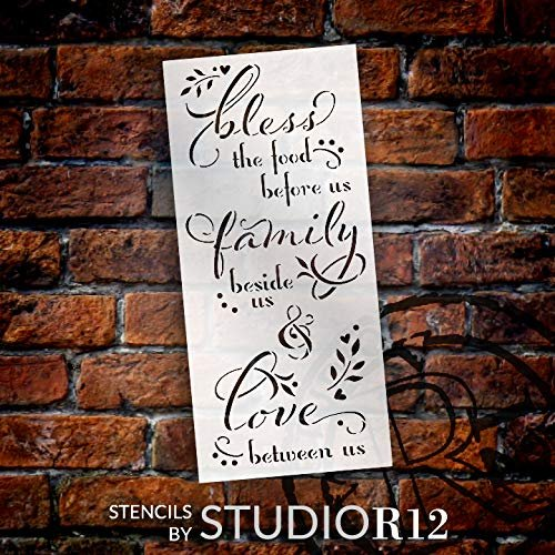 Bless The Food Before Us Stencil by StudioR12 | DIY Fall Family Home Decor | Paint Wood Signs | Reusable Template | Select Size | STCL3565