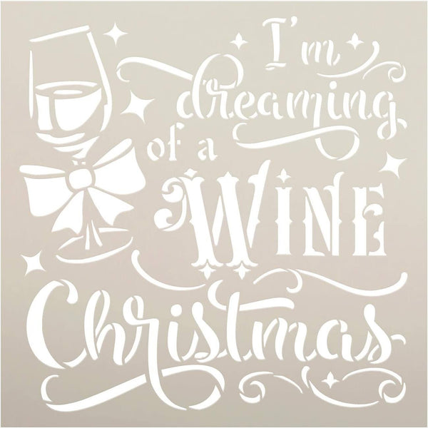 Wine Christmas Stencil by StudioR12 | DIY Funny Winter Holiday Home Decor | Craft & Paint Wood Sign Reusable Mylar Template | Glass Present Bow Cursive Script Gift Select Size