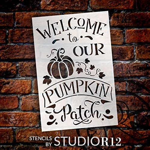 Welcome to Our Pumpkin Patch Stencil by StudioR12 | DIY Fall & Autumn Home Decor | Paint Wood Signs | Reusable Template | Select Size | STCL3551